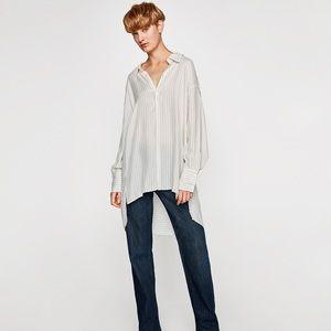 ZARA Woman White Striped Oversized Shirt  - XS